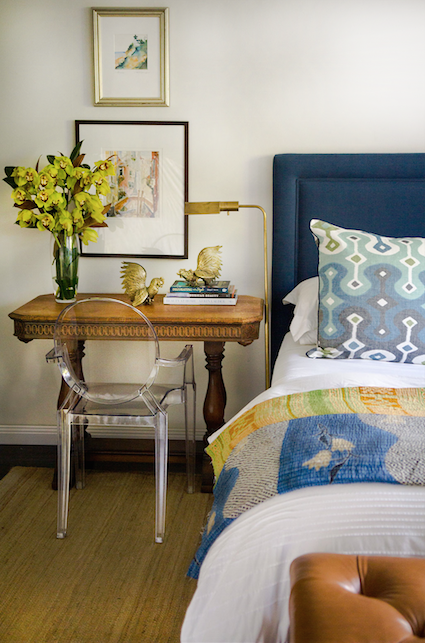 If space is an issue, multi task areas.  I'm loving the trend for bedside tables that also work as desks.